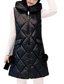 cheap Women's Down & Parkas-Women's Long Plus Size Cotton Vest - Solid Colored Hooded