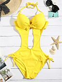 preiswerte Damen Hosen-Damen Bandeau Einteiler - Schleife, Solide Halter Cheeky-Bikinihose