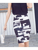 cheap Women's Skirts-Women's Going out Sophisticated Cotton Bodycon Skirts - Color Block Print / Fall