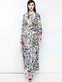 abordables Vestidos de Mujer-Mujer Básico / Boho Corte Swing Vestido Floral Maxi Escote Chino