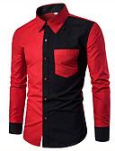 baratos Camisas Masculinas-Homens Camisa Social - Trabalho Sólido Algodão Colarinho Clerical Preto e Vermelho / Manga Longa