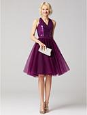 billige Todelte kjoler-A-linje / Todelt V-hals Knelang Tyll / Paljetter Cocktailfest / Skoleball Kjole med Paljett / Belte / bånd av TS Couture®