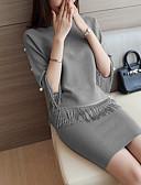 cheap Women's Dresses-Women's T-shirt - Solid Colored, Beaded Skirt / Fall / Winter / Split
