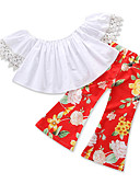 preiswerte Kapuzenpullover & Sweatshirts für Mädchen-Mädchen Kleidungs Set Ausgehen Festtage Blumen Baumwolle Sommer Kurzarm Freizeit Street Schick Rote