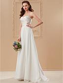 olcso Menyasszonyi ruhák-A-vonalú / Hercegnő Szív-alakú Földig érő Sifon Made-to-measure esküvői ruhák val vel Cakkos által LAN TING BRIDE® / Open Back