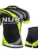 hesapli Erkek Kapşonluları ve Svetşörtleri-Nuckily Erkek Kısa Kollu Şortlu Bisiklet Forması - Yeşil Geometrik Bisiklet Şort Forma Giysi Setleri, Ultravioleye Karşı Dayanıklı, Nefes