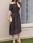 זול שמלות נשים-סטרפלס דפוס, מנוקד - שמלה סווינג בוהו בגדי ריקוד נשים