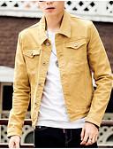 זול גברים-ג'קטים ומעילים-אחיד צווארון חולצה ג'קט - בגדי ריקוד גברים כותנה ג'ינס