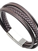 cheap Men's Blazers & Suits-Men's Bracelet - Stainless Steel, Leather Fashion Bracelet Black / Coffee For Street Going out