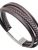 preiswerte Gürtel-Herrn Armband - Edelstahl, Leder Modisch Armbänder Schwarz / Kaffee Für Strasse / Ausgehen