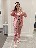 זול חלוקים & Sleepwear-בגדי ריקוד נשים צווארון מרובע חליפות פיג'מות - דפוס, דמויות מסרטים מצוירים