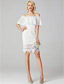 olcso Menyasszonyi ruhák-Szűk szabású Aszimmetrikus Rövid / mini Mindenhol csipke Made-to-measure esküvői ruhák val vel Rátétek / flounced által LAN TING BRIDE® / Költő / Kis fehér szoknyák / Open Back