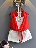 tanie Zestawy ubrań dla dziewczynek-Brzdąc Dla dziewczynek Solidne kolory Bez rękawów Bawełna Komplet odzieży Czerwony 100