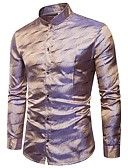 abordables Camisas de Hombre-Hombre Lujo Discoteca Jacquard - Algodón Camisa Un Color / Manga Larga / Primavera