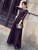 hesapli Kadın Elbiseleri-Kadın's Salaş Elbise - Solid, Dantel Maksi