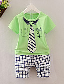 cheap Men's Pants & Shorts-Boys' Daily Clothing Set, Cotton Summer Short Sleeves Casual Blue Green Yellow