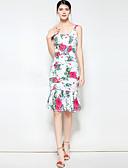 זול שמלות נשים-כתפיה דפוס, פרחוני - שמלה בתולת ים \חצוצרה בוהו בגדי ריקוד נשים