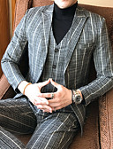 cheap Men's Blazers & Suits-Men's Suits-Striped Plaid,Oversized / Long Sleeve