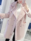 olcso Kabát & Viharkabát-Női Napi Tél Hosszú Kabát, Egyszínű V-alakú Hosszú ujj Pamut / Akril Túlméretezett Fekete / Arcpír rózsaszín / Szürke M / L / XL