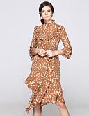 זול שמלות נשים-עומד קפלים Ruched דפוס, פרחוני - שמלה גזרת A נדן סווינג שרוול התלקחות בגדי ריקוד נשים