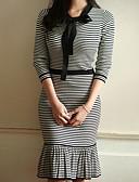 זול שמלות נשים-מעל הברך קולור בלוק - שמלה גזרת A בתולת ים \חצוצרה כותנה ליציאה בגדי ריקוד נשים