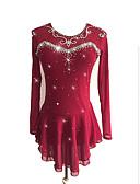 baratos Vestidos de Patinação no Gelo-Vestidos para Patinação Artística Mulheres / Para Meninas Patinação no Gelo Vestidos Vinho Elastano Com Stretch Roupa para Patinação