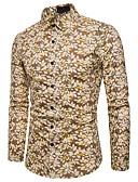 billige Herreskjorter-Bomull Tynn Spredt krage Skjorte Herre - Blomstret, Trykt mønster / Langermet
