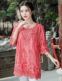 cheap Vintage Dresses-Women's Street chic Plus Size Cotton Loose Shirt - Solid Colored Embroidered
