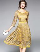 baratos Vestidos Femininos-Mulheres Para Noite Moda de Rua / Sofisticado Evasê / Bainha / Rendas Vestido - Renda / Com Corte / Franzido, Sólido Médio