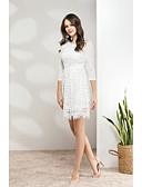 זול שמלות נשים-מותניים גבוהים מעל הברך תחרה / רשת, אחיד - שמלה נדן / תחרה ליציאה בגדי ריקוד נשים
