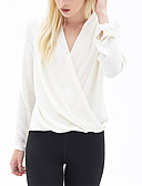 cheap Women's Blouses-Women's Holiday Street chic Blouse - Solid Colored V Neck