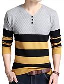 billige Herregensere og -cardigans-Herre Arbeid Langermet Pullover - Stripet V-hals
