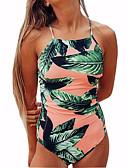 baratos Biquínis e Roupas de Banho Femininas-Mulheres Maiô - Floral, Estampado Folha tropical