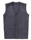 זול סוודרים וקרדיגנים לגברים-צבע אחיד - וסט ללא שרוולים צווארון V בגדי ריקוד גברים