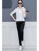 cheap Women's Two Piece Sets-Women's Cotton Hoodie - Embroidery Pant Hooded / Fall