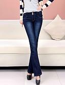 זול מכנסיים לנשים-בגדי ריקוד נשים צ'ינו ג'ינסים מכנסיים - גיזרה גבוהה אחיד