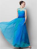 preiswerte Abendkleider-A-Linie Illusionsausschnitt Knöchel-Länge Tüll See Through Abiball / Formeller Abend Kleid mit Seitlich drapiert durch TS Couture® / Farbverläufe