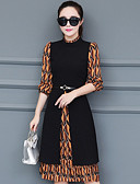 זול שמלות נשים-צווארון עגול קצר מידי פסים - שמלה משוחרר מידות גדולות בגדי ריקוד נשים / אביב