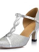 preiswerte Tanzkleidung für Balltänze-Damen Schuhe für modern Dance Nubukleder Sandalen Kubanischer Absatz Maßfertigung Tanzschuhe Silber