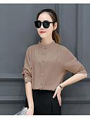 baratos Camisas Femininas-Mulheres Camisa Social Sólido Algodão