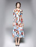 זול שמלות נשים-מידי פרחוני - שמלה גזרת A סגנון רחוב עבודה בגדי ריקוד נשים