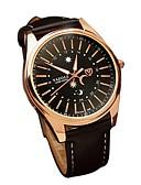 cheap Leather Band Watches-Men's Quartz Wrist Watch Japanese Casual Watch Genuine Leather Band Casual Fashion Black Brown