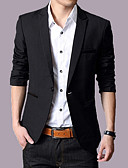 cheap Men's Blazers & Suits-Men's Slim Blazer-Solid Colored / Long Sleeve / Work