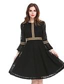 cheap Romantic Lace Dresses-Women's Lace Plus Size Party Work Flare Sleeve A Line Lace Dress - Color Block Lace High Waist Fall Black Wine XL XXL XXXL