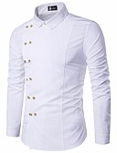 cheap Men's Jackets & Coats-Men's Chinoiserie Cotton Slim Shirt - Solid Colored Basic Classic Collar / Long Sleeve