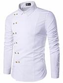 זול חולצות לגברים-אחיד צווארון קלאסי רזה סגנון סיני כותנה, חולצה - בגדי ריקוד גברים בסיסי / שרוול ארוך