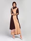 זול שמלות נשים-גיזרה גבוהה מקסי תחרה, קולור בלוק - שמלה כפתן גלבייה בגדי ריקוד נשים