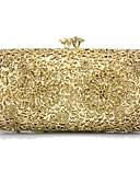 זול טישרטים לגופיות לגברים-בגדי ריקוד נשים שקיות פלסטי / מתכת תיק ערב פרטים מקריסטל גיאומטרי זהב / כסף