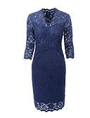 זול שמלות נשים-צווארון V עד הברך צבע אחיד - שמלה צינור כותנה בסיסי בגדי ריקוד נשים