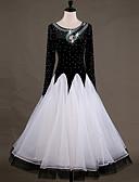 Недорогие Одежда для бальных танцев-Бальные танцы Платья Жен. Выступление Чинлон Органза Аппликации Стразы Длинный рукав Завышенная талия Платье